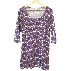 Boden Purple 3/4 Long Sleeve Floral Print Dress